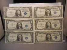 6- 1957 One Dollar Blue Seal Silver Certificates