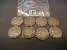 8- Silver Roosevelt Dimes   Mixed Dates