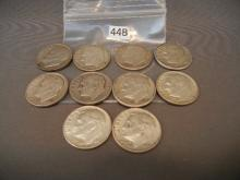 10- Silver Roosevelt Dimes   Mixed Dates