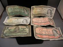 6 Canadian Notes One & Two Dollar notes.