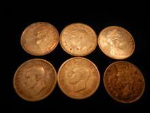 6 Canadian Dimes 1940, 1941, 1942, 1945, 1967 & 1968