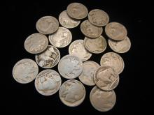20 - Buffalo Nickels - Mixed Dates, Weak Dates and No Dates