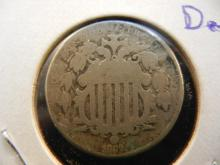 1867 Shield Nickel. Very Good Detail.
