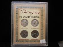 U.S. Quarter Collection. Four coins, two silver and two copper nickel in holder.