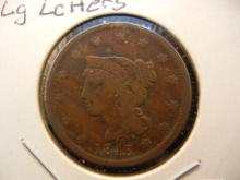 1843 Large Cent.  Petite head with Large Letters.  Nice Very Good.