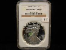 2015 W Silver Eagle.  Slabbed by NGC as PR 70, Ultra Cameo.  A perfect coin.