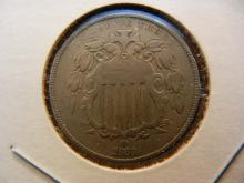 1868 Shield Nickel.  Attractive VF.