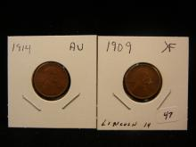 1909 XF and 1914 AU Lincoln Cents.