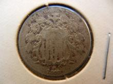 1869 Shield Nickel.  Very Fine Detail.