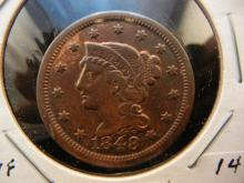 1848 Large Cent.  Very Fine.  Nice Red Brown with strong details.