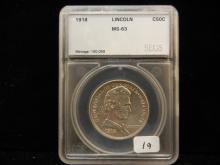 1918 Lincoln Commemorative Half.  Slabbed by SEGS as MS 63