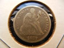 1877 Seated Dime.  Full Liberty.