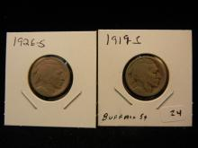 1919-S and 1926-S Buffalo Nickels.  Circulated.