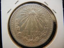 1920 Mexico 1 Peso Large Silver Coin.  72% silver.  Brilliant Uncirculated.