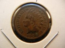 1908-S Indian Cent.  Key Date.  Fine with Liberty visible.  No problem coin.