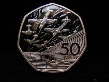 1994 United Kingdom 50 Pence Silver Piedfort (Proof Pattern Coin) for D-Day in Royal Mint Box. Low Mintage.