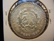 1966 Mexico Silver Peso.  Brilliant Unc.