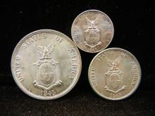 1945 D 10, 1945 D 20 & 1945 S 50 Centavos Silver coins from the Philippines