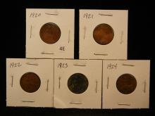 1920, 1921, 1922, 1923 & 1924 One Farthing Coins from Great Britain
