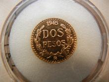 Passport World of Coins Mexican 1945 2 Peso 90% Gold Coin