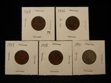 1925, 1926, 1927, 1928 & 1931 One Farthing Coins from Great Britain