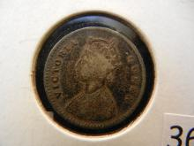 1862 2 Anna from India Silver