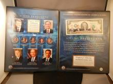 Living Presidents Colorized $2 Bill & 5 Colorized Quarters
