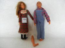 John Boy and Mary Ellen Dolls , leg needs put on John Boy