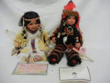 2- Indian Porcelain Dolls-Limited Edition, Cathay-Numbered 447/5000, Alexandria, &  Traditions Doll Collection /River
