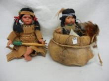 2-Indian Porcelain Dolls-Partlo/ Red Clift, & Other Indian Sqaw Doll