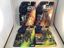 Lot of 4 Carded Star Wars Figures - Princess Leia Organa, Chewbacca, Death Star Gunner, EV-9D9