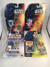 Lot of 4 Carded Star Wars Figures - Yoda, C3PO, Admiral Ozzel, Biggs Darklighter