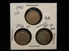 3 Foreign Coins 10 Cent Nederlander - 1916 Canadian 5 Cents & 1919 Canadian 5 Cents w/Hole in Top