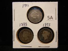 3 Canadian Half Dimes - 5 Cents - 1888, 1893 & 1901