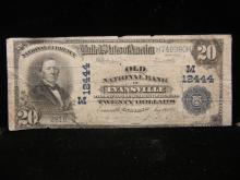 Large 1923 Twenty Dollar Old National Bank Note in Evansville Indiana -