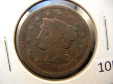 1848 Coronet Head Large Cent, Damaged Reverse