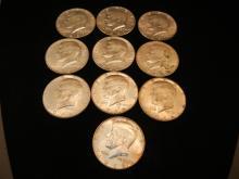 10-Kennedy Half Dollars , 40 % Silver,1966 & 67
