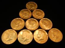 10-Kennedy Half Dollars , 40 % Silver,1967