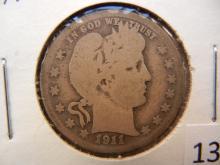 1911 -D Barber Quarter, Semi Key Date