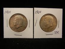 2 - 1964 Kennedy Half Dollars 90% Silver