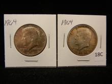 2-1964 Kennedy Half Dollars , 90 % Silver