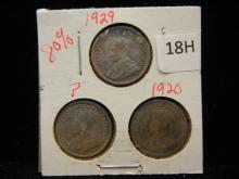 3-Canadian Dimes, 1920,29,one no date, 80% Silver