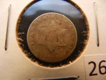 1853 Silver 3 Cent Piece