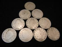 10 - Liberty Head V Nickels Mixed Dates