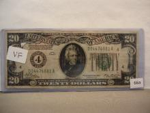 1928 $20 Federal Reserve Note.  Redeemable in Gold.  Nice Very Fine.