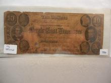 1855 Signed Bank of East Tennessee $10 Note. Circulated with stains