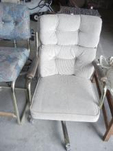 Upholstered Chair on Wheels   No Shipping Pick Up Only