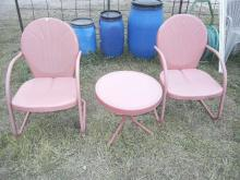 Two Red Metal Lawn Chairs & Small Table No Shipping Pick Up Only