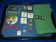Lot of Girl Scout Items Sash, Pins & Patches