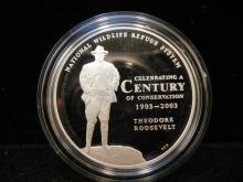 2003 National Wildlife Refuge System Centennial Medal Bald Eagle 90% Silver Proof with COA